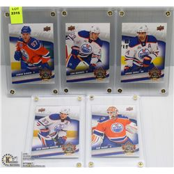 LOT OF 5 OILERS UPPER DECK CASED HOCKEY CARDS