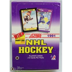 1991 SCORE HOCKEY BOX 36 PACKS/BOX 15 CARDS/PACK