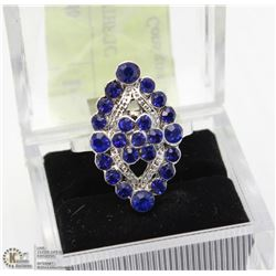 SILVER PLATED SYNTHETIC SAPPHIRE & CUBIC