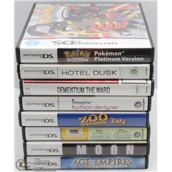 BOX W/8 NINTENDO DS GAMES