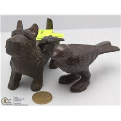CAST IRON DOG WITH WINGS AND A BIRD