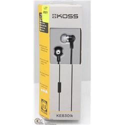 KOSS IN-EAR STEREO PHONES, IN-LINE MIC AND