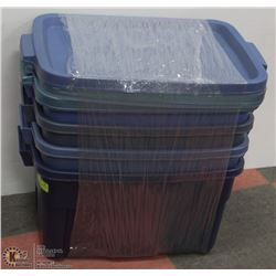 SET OF 4 RUBBERMAID ROUGHNECK STORAGE CONTAINERS