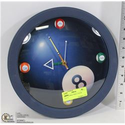 POOL CUE BALL WALL CLOCK