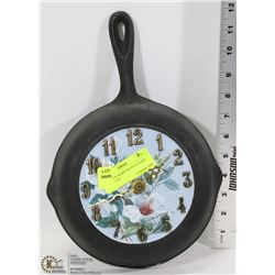 CAST IRON HANDPAINTED CLOCK FRYING PAN