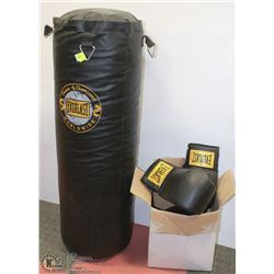 PUNCHING BAG W/ BOXING GLOVES AND MEDICINE BALL