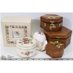 FLAT OF TRINKET AND STORAGE BOXES