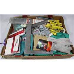 FLAT OF ASSORTED WELDING ITEMS INCL GLOVE SLEEVES,