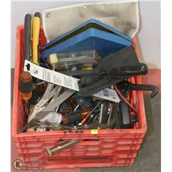 MILK CRATE OF ASSORTED TOOLS
