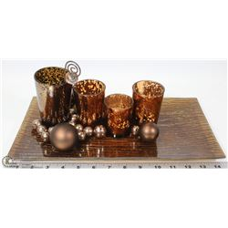AMBER TABLE GLASS CANDLE HOLDERS CENTERPIECE