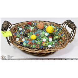 XL BASKET OF COLLECTOR MARBLES