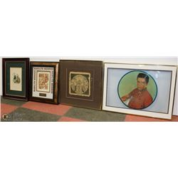 FLAT OF 4 PICTURES, MARILYN MONROE, ELVIS RECORD,