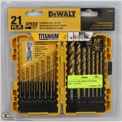 DEWALT 21PC SPEED TITANIUM DRILL BIT SET