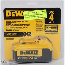DEWALT 20V MAX LITHIUM ION BATTERY PACK W/ FUEL