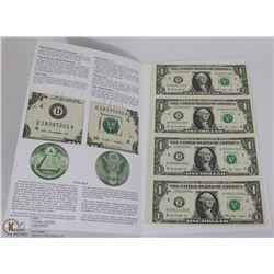 LOT OF 4 US $1 BILLS UNCUT SERIES 2009 W/ GREAT