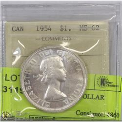 1954 ICCS MS62 SILVER DOLLAR