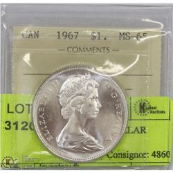 1967 ICCS MS65 SILVER DOLLAR