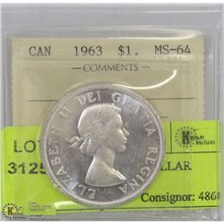 1963 ICCS MS64 SILVER DOLLAR
