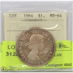 1964 ICCS MS64 SILVER DOLLAR