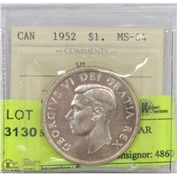 1952 ICCS MS 64 SILVER DOLLAR