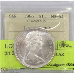 1966 ICCS MS64 SILVER DOLLAR