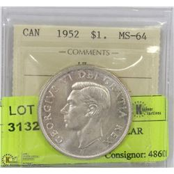 1952 ICCS MS64 SILVER DOLLAR