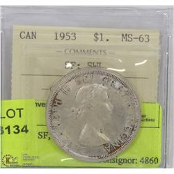 1953 ICCS SF, SWL MS63 SILVER DOLLAR