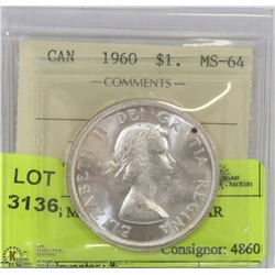1960 ICCS MS64 SILVER DOLLAR