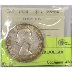 1958 ICCS MS64 SILVER DOLLAR
