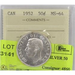 1952 ICCS MS 64 CANADA SILVER 50 CENT