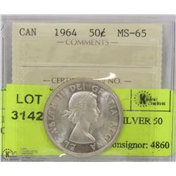 1964 ICCS MS 64 CANADA SILVER 50 CENT