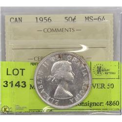 1956 ICCS MS 64 CANADA SILVER 50 CENT