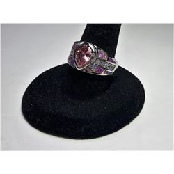 PEAR SHAPED PINK TOPAZ & PINK FIRE OPAL RING