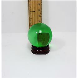 GREEN SEA GLASS 40MM SPHERE & STAND