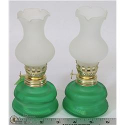 TWO MINIATURE OIL LAMPS WITH SHADES