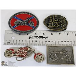 TRAY W/ 4 MOTORCYCLE RELATED BELT BUCKLES
