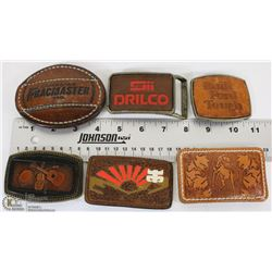 TRAY W/ 6 LEATHER BELT BUCKLES