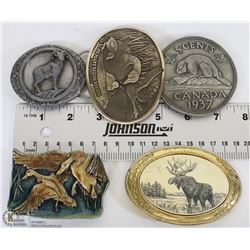 TRAY W/ 5 NATURE THEME  BELT BUCKLES