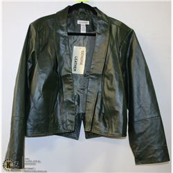 NEW LADIES LEATHER JACKET GREEN SIZE 20