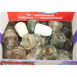 BOX OF GLASS INSULATORS, SOME MARKED CPR
