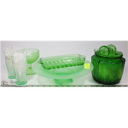 VINTAGE COLLECTION OF GREEN GLASSWARE INCL