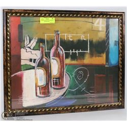 FRAMED WINE BOTTLE ABSTRACT DECORATIVE PICTURE