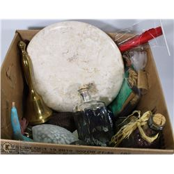 BOX WITH ASSORTED ORNAMENTS