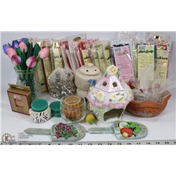 BOX WITH ASSORTED NEW CANDLES, CANDLE HOLDERS &
