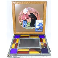 STAINED GLASS PICTURE FRAME W/ BOY WITH DOG