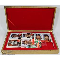 300 ASSORTED BASEBALL  CARDS IN WOODEN BOX