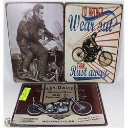 LOT OF 3 TIN PICTURES INCL HARLEY DAVIDSON,
