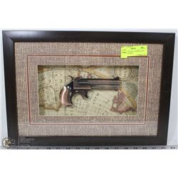 REPLICA VINTAGE  2 BARREL GUN MODEL INCASED