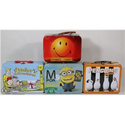 FLAT WITH ASSORTED LUNCH TINS INCL. MINIONS,