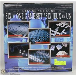 NEW DELUXE SIX IN ONE GLASS GAME SET